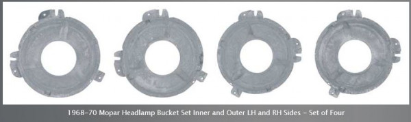 Headlight Bucket Set 68-70 Inner and Outer 4 PC