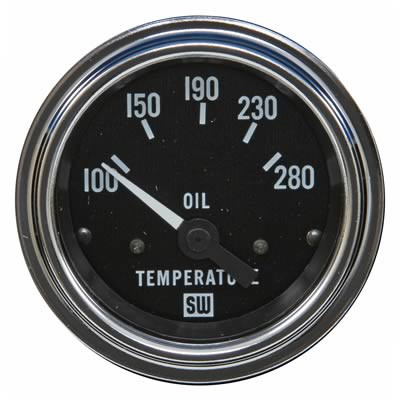 Gauge, Oil Temperature, 100-280 Degrees F, 2 1/16 in., Analog, Electrical, Black Face, Each